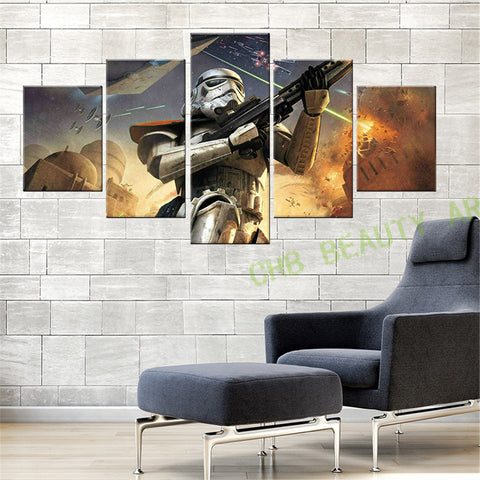 5 Panel Modern Canvas Painting  Star Wars Wall Art The Force Awakens Print Poster Wall Pictures For Living Room Unframed