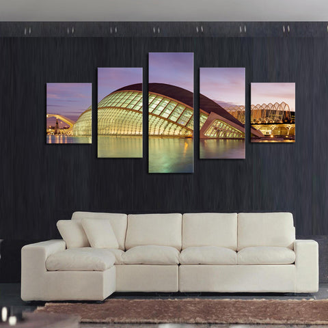(No Frame) 5 Piece The Modern Architecture Home Wall Decor Canvas Picture Art HD Print Painting On Canvas Artworks