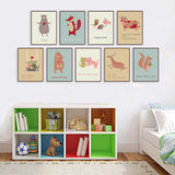 Cute cartoon animal cards A4 A3 Art Prints Poster Living Room Wall Pictures Canvas Painting Home Decor No Frame
