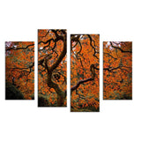 4PCS HD paints red and yellow trees art Wall painting print on canvas for home decor ideas paints on wall pictures art No framed