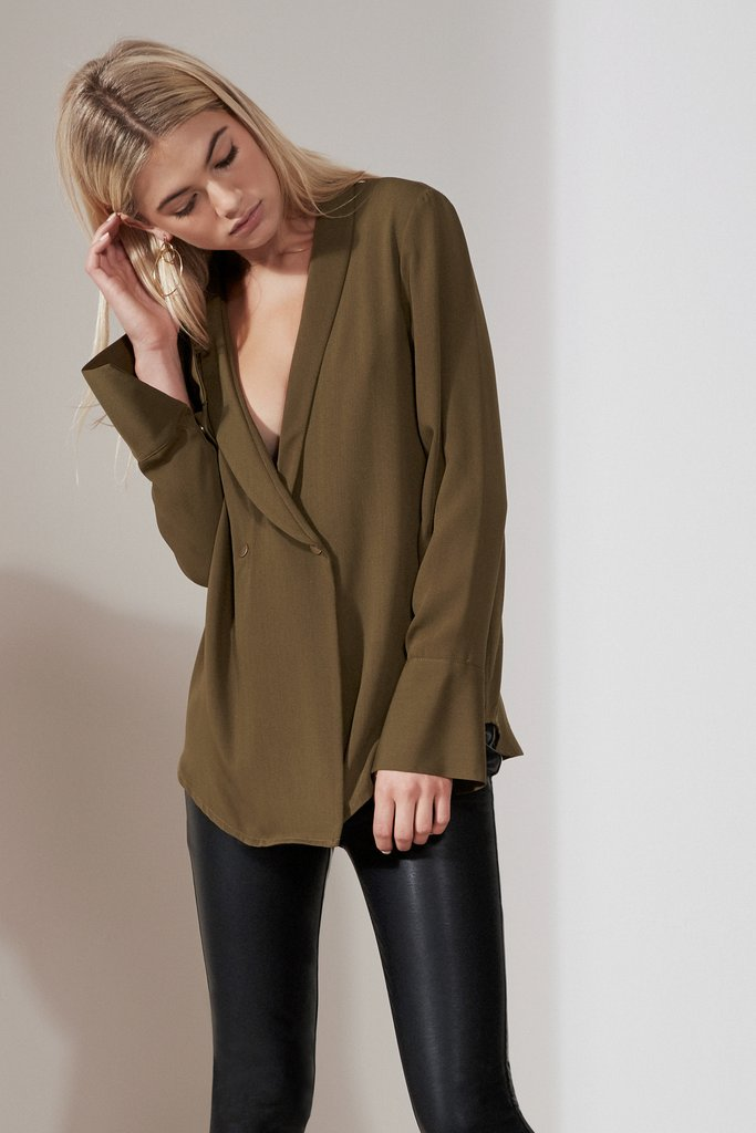 HOLLYWOOD LONG SLEEVE TOP khaki - Sallyrose