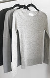 Second skin cashmere ribbed crewneck in Grey