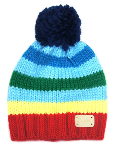 Hat - Multi Stripe Bobble