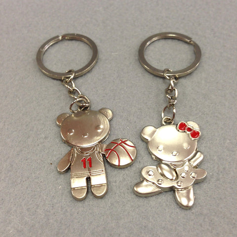 Basketball and Cheerleader Couples Keychain