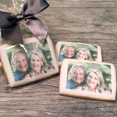 Custom Rectangle Photo Cookies with Ribbon Bow