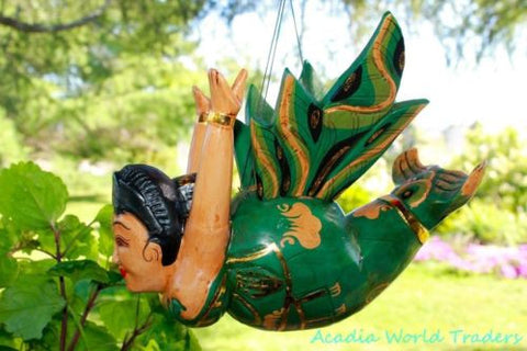 "Winged Chubby Mermaid Mobile Flying Goddess Balinese carved wood Bali Art 12"" - Acadia World Traders"