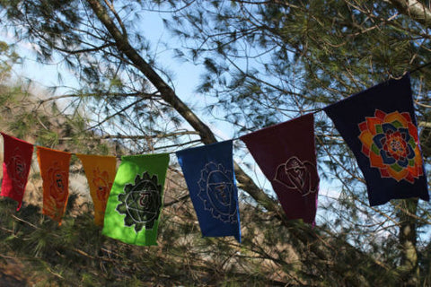 Bali Prayer Flag banner pennant Chakra Rainbow Yoga Batik Balinese Garden Art - Acadia World Traders