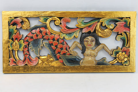 Balinese Mermaid Goddess Panel Hand Carved Wood Architectural