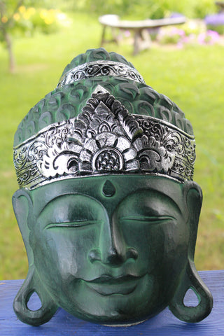 Bali Buddha Mask Verdigris Green & Silver Hand Carved Wood