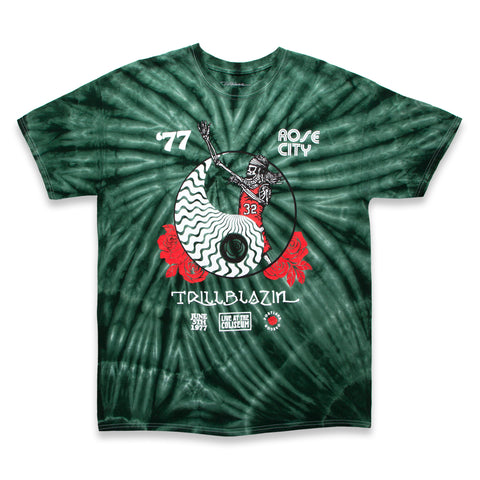 RED HEAD TEE - GREEN TIE DYE