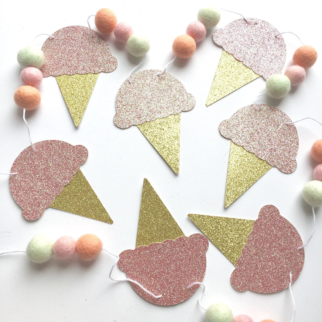 Ice Cream Glitter + Felt Garland