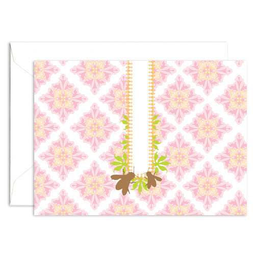 Honey bees white note card