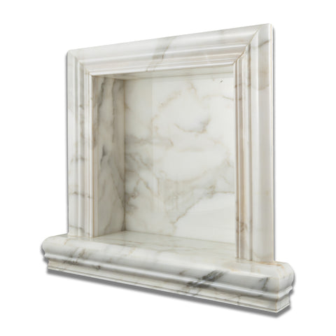 Calacatta Gold Marble Hand-Made Custom Shampoo Niche / Shelf - SMALL - Honed - American Tile Depot - Commercial and Residential (Interior & Exterior), Indoor, Outdoor, Shower, Backsplash, Bathroom, Kitchen, Deck & Patio, Decorative, Floor, Wall, Ceiling, Powder Room - 1