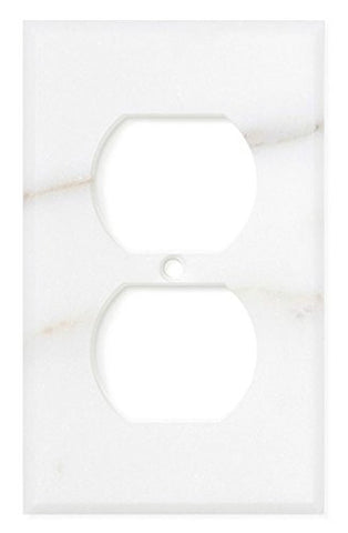 Italian Calacatta Gold Marble Single Duplex Switch Wall Plate / Switch Plate / Cover - Honed - American Tile Depot - Commercial and Residential (Interior & Exterior), Indoor, Outdoor, Shower, Backsplash, Bathroom, Kitchen, Deck & Patio, Decorative, Floor, Wall, Ceiling, Powder Room - 1