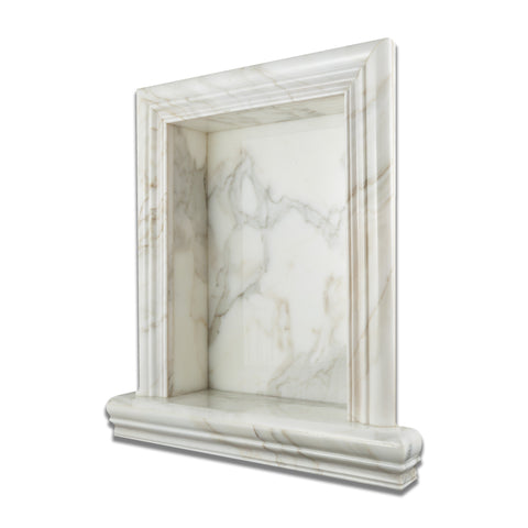Calacatta Gold Marble Hand-Made Custom Shampoo Niche / Shelf - LARGE - Polished - American Tile Depot - Commercial and Residential (Interior & Exterior), Indoor, Outdoor, Shower, Backsplash, Bathroom, Kitchen, Deck & Patio, Decorative, Floor, Wall, Ceiling, Powder Room - 1