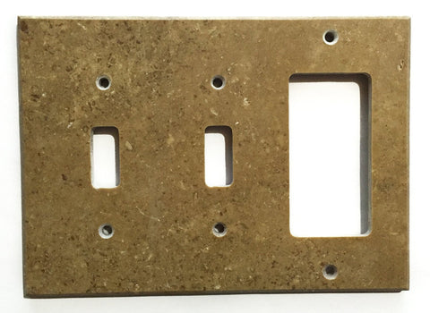 Noce Travertine Double Toggle Rocker Switch Wall Plate / Switch Plate / Cover - Honed - American Tile Depot - Commercial and Residential (Interior & Exterior), Indoor, Outdoor, Shower, Backsplash, Bathroom, Kitchen, Deck & Patio, Decorative, Floor, Wall, Ceiling, Powder Room - 1