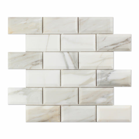 2 X 4 Calacatta Gold Marble Honed & Beveled Brick Mosaic Tile - American Tile Depot - Shower, Backsplash, Bathroom, Kitchen, Deck & Patio, Decorative, Floor, Wall, Ceiling, Powder Room, Indoor, Outdoor, Commercial, Residential, Interior, Exterior