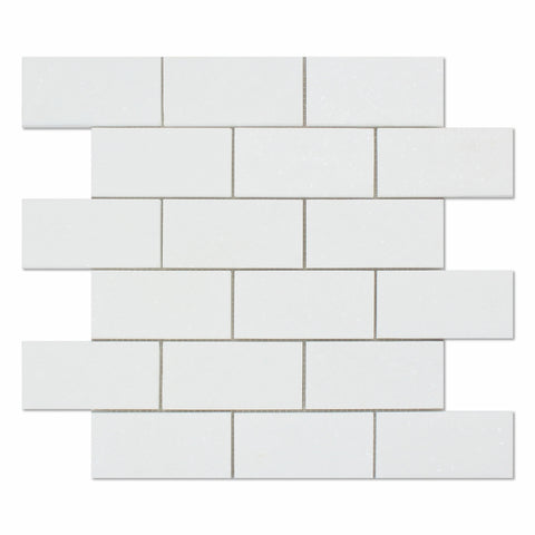 2 X 4 Thassos White Marble Honed Brick Mosaic Tile - American Tile Depot - Shower, Backsplash, Bathroom, Kitchen, Deck & Patio, Decorative, Floor, Wall, Ceiling, Powder Room, Indoor, Outdoor, Commercial, Residential, Interior, Exterior