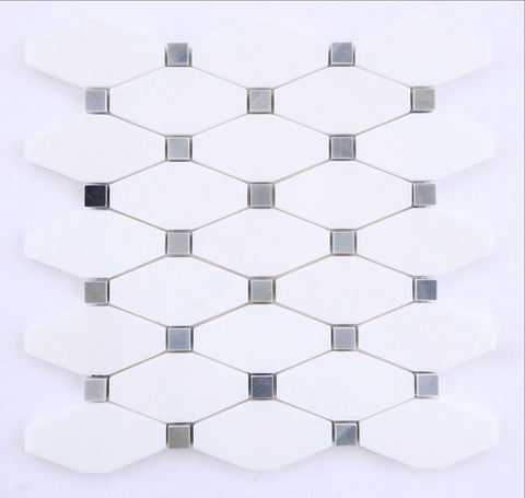 Thassos White Marble Honed Octave Pattern Mosaic Tile w/ Blue-Gray Dots - American Tile Depot - Commercial and Residential (Interior & Exterior), Indoor, Outdoor, Shower, Backsplash, Bathroom, Kitchen, Deck & Patio, Decorative, Floor, Wall, Ceiling, Powder Room - 1