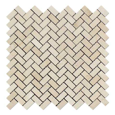Crema Marfil Marble Honed Mini Herringbone Mosaic Tile - American Tile Depot - Commercial and Residential (Interior & Exterior), Indoor, Outdoor, Shower, Backsplash, Bathroom, Kitchen, Deck & Patio, Decorative, Floor, Wall, Ceiling, Powder Room - 1