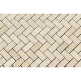 Crema Marfil Marble Honed Mini Herringbone Mosaic Tile - American Tile Depot - Commercial and Residential (Interior & Exterior), Indoor, Outdoor, Shower, Backsplash, Bathroom, Kitchen, Deck & Patio, Decorative, Floor, Wall, Ceiling, Powder Room - 2