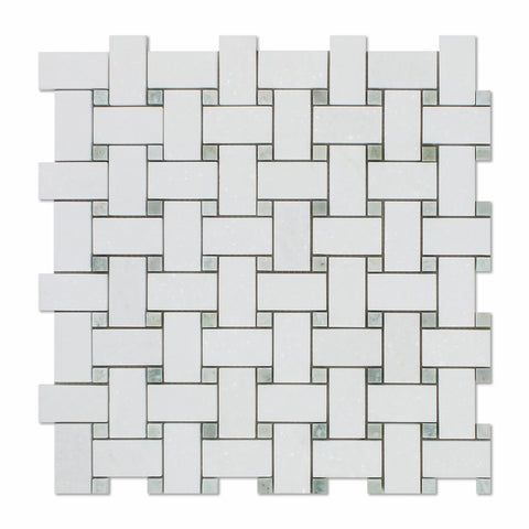 Thassos White Marble Polished Basketweave Mosaic Tile w/ Ming-Green Dots - American Tile Depot - Commercial and Residential (Interior & Exterior), Indoor, Outdoor, Shower, Backsplash, Bathroom, Kitchen, Deck & Patio, Decorative, Floor, Wall, Ceiling, Powder Room