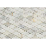 "Calacatta Gold Marble Polished 1"" Diamond Mosaic Tile - American Tile Depot - Commercial and Residential (Interior & Exterior), Indoor, Outdoor, Shower, Backsplash, Bathroom, Kitchen, Deck & Patio, Decorative, Floor, Wall, Ceiling, Powder Room - 2"