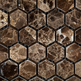 "Emperador Dark Marble Polished 1"" Mini Hexagon Mosaic Tile - American Tile Depot - Commercial and Residential (Interior & Exterior), Indoor, Outdoor, Shower, Backsplash, Bathroom, Kitchen, Deck & Patio, Decorative, Floor, Wall, Ceiling, Powder Room - 2"