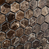 "Emperador Dark Marble Polished 1"" Mini Hexagon Mosaic Tile - American Tile Depot - Commercial and Residential (Interior & Exterior), Indoor, Outdoor, Shower, Backsplash, Bathroom, Kitchen, Deck & Patio, Decorative, Floor, Wall, Ceiling, Powder Room - 3"