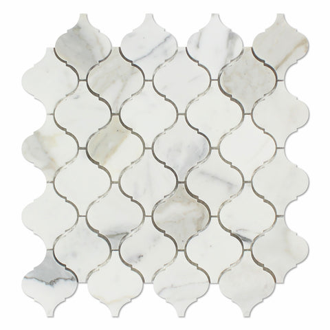 Calacatta Gold Marble Polished Lantern Arabesque Mosaic Tile - American Tile Depot - Commercial and Residential (Interior & Exterior), Indoor, Outdoor, Shower, Backsplash, Bathroom, Kitchen, Deck & Patio, Decorative, Floor, Wall, Ceiling, Powder Room - 1