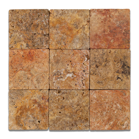 4 X 4 Scabos Travertine Tumbled Field Tile - American Tile Depot - Commercial and Residential (Interior & Exterior), Indoor, Outdoor, Shower, Backsplash, Bathroom, Kitchen, Deck & Patio, Decorative, Floor, Wall, Ceiling, Powder Room - 1