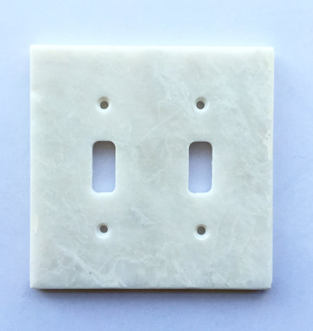White Marble (Meram Blanc) Double Toggle Switch Wall Plate / Switch Plate / Cover - Polished - American Tile Depot - Commercial and Residential (Interior & Exterior), Indoor, Outdoor, Shower, Backsplash, Bathroom, Kitchen, Deck & Patio, Decorative, Floor, Wall, Ceiling, Powder Room - 1