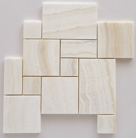 Premium White Onyx VEIN-CUT 4-Pieced OPUS Mini-Pattern Polished Mosaic Tile- American Tile Depot