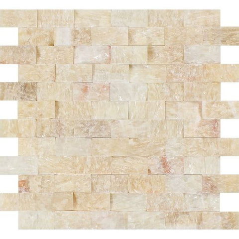 1 X 2 Honey Onyx Split-Faced Brick Mosaic Tile - American Tile Depot - Shower, Backsplash, Bathroom, Kitchen, Deck & Patio, Decorative, Floor, Wall, Ceiling, Powder Room, Indoor, Outdoor, Commercial, Residential, Interior, Exterior