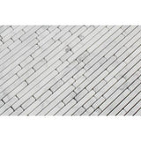 Carrara White Marble Polished Bamboo Sticks Mosaic ( Single-Color Carrara )