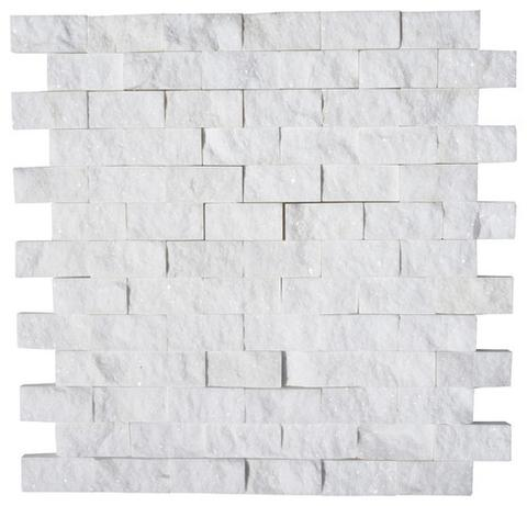 1 X 2 Thassos White Marble Split Faced Mosaic Tile - American Tile Depot - Shower, Backsplash, Bathroom, Kitchen, Deck & Patio, Decorative, Floor, Wall, Ceiling, Powder Room, Indoor, Outdoor, Commercial, Residential, Interior, Exterior