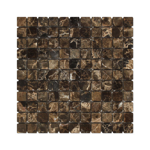 1 X 1 Emperador Dark Marble Tumbled Mosaic Tile - American Tile Depot - Shower, Backsplash, Bathroom, Kitchen, Deck & Patio, Decorative, Floor, Wall, Ceiling, Powder Room, Indoor, Outdoor, Commercial, Residential, Interior, Exterior