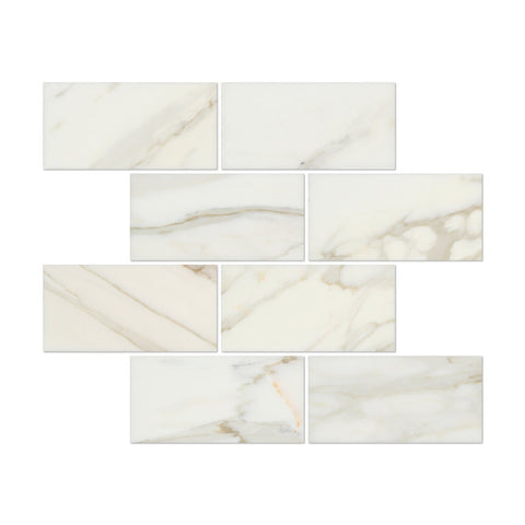 3 X 6 Calacatta Gold Marble Honed Subway Brick Field Tile - American Tile Depot - Shower, Backsplash, Bathroom, Kitchen, Deck & Patio, Decorative, Floor, Wall, Ceiling, Powder Room, Indoor, Outdoor, Commercial, Residential, Interior, Exterior