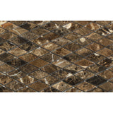 "Emperador Dark Marble Polished 1"" Diamond Mosaic Tile - American Tile Depot - Commercial and Residential (Interior & Exterior), Indoor, Outdoor, Shower, Backsplash, Bathroom, Kitchen, Deck & Patio, Decorative, Floor, Wall, Ceiling, Powder Room - 2"