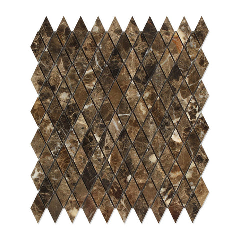 "Emperador Dark Marble Polished 1"" Diamond Mosaic Tile - American Tile Depot - Commercial and Residential (Interior & Exterior), Indoor, Outdoor, Shower, Backsplash, Bathroom, Kitchen, Deck & Patio, Decorative, Floor, Wall, Ceiling, Powder Room - 1"