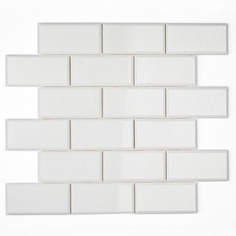 2 X 4 Thassos White Marble Honed & Beveled Brick Mosaic Tile - American Tile Depot - Shower, Backsplash, Bathroom, Kitchen, Deck & Patio, Decorative, Floor, Wall, Ceiling, Powder Room, Indoor, Outdoor, Commercial, Residential, Interior, Exterior