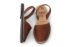 Mibo Avarcas Brown Leather Menorcan Sandals