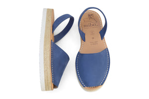 Mibo Flarform Avarcas Blue Leather Sandals