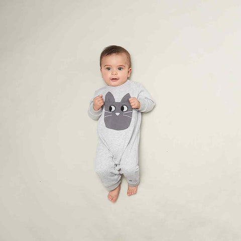 Bonnie Mob Felix Cat Pocket Playsuit - Grey-Rompers- Natural Baby Shower