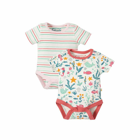 Frugi Bailey Bodies - Mermaid - 2 Pack-Bodysuits- Natural Baby Shower
