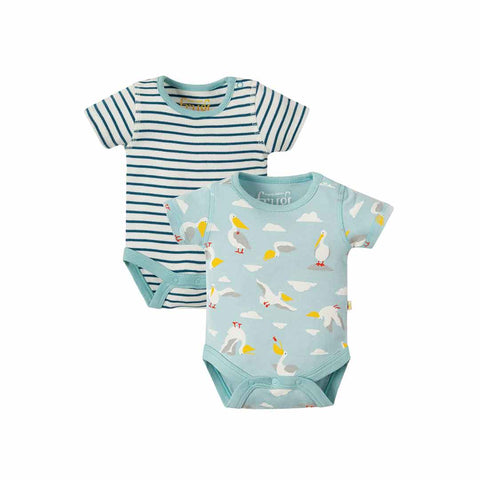 Frugi Bailey Bodies - Pelican Party - 2 Pack-Bodysuits- Natural Baby Shower