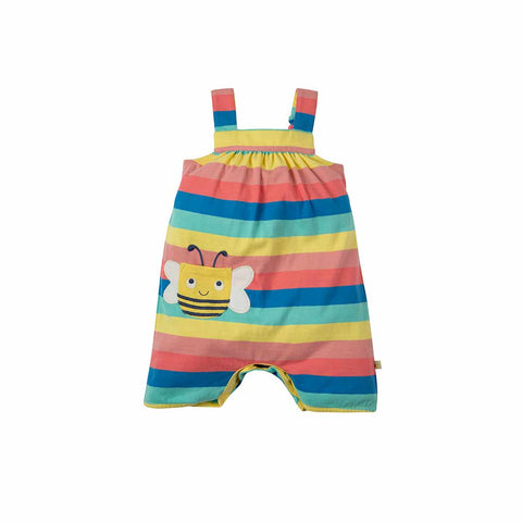 Frugi Beau Beach Dungarees - Bright Rainbow Stripe-Dungarees- Natural Baby Shower