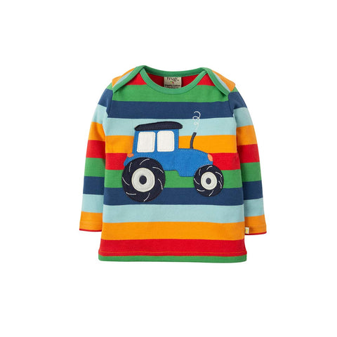 Frugi Bobby Applique Top - Multi Rainbow Stripe-Long Sleeves- Natural Baby Shower