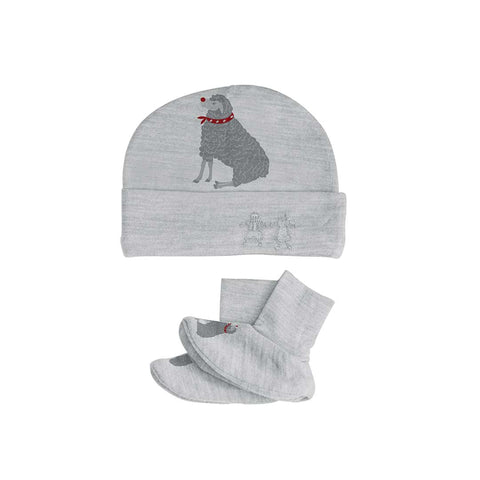 Merino Kids Bootie & Hat Set - Light Grey Winter Sheep-Newborn Sets-0-3m-Light Grey- Natural Baby Shower