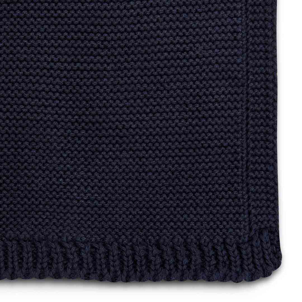 The Little Green Sheep Organic Knitted Cellular Baby Blanket - Midnight-Blankets- Natural Baby Shower
